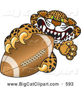 Big Cat Cartoon Vector Clipart of a Scary Cheetah, Jaguar or Leopard Character School Mascot Grabbing a Football by Toons4Biz