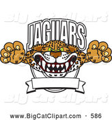 Big Cat Cartoon Vector Clipart of a Scary Jaguars Character School Mascot Logo by Toons4Biz