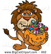 Big Cat Cartoon Vector Clipart of a Scary Trick or Treating Lion Holding a Pumpkin Basket Full of Halloween Candy by Dennis Holmes Designs