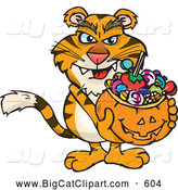Big Cat Cartoon Vector Clipart of a Scary Trick or Treating Tiger Holding a Pumpkin Basket Full of Halloween Candy by Dennis Holmes Designs