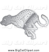 Big Cat Cartoon Vector Clipart of a Shiny Silver Running Cheetah by Lal Perera