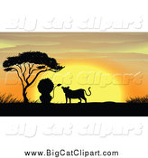 Big Cat Cartoon Vector Clipart of a Silhouetted Lion Couple by a Tree at Sunset by Graphics RF