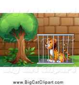 Big Cat Cartoon Vector Clipart of a Sitting Caged Tiger by a Tree by Graphics RF