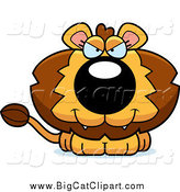 Big Cat Cartoon Vector Clipart of a Sitting Evil Lion by Cory Thoman