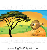 Big Cat Cartoon Vector Clipart of a Sitting Lion on a Path by a Tree at Sunset by Graphics RF