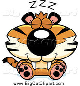 Big Cat Cartoon Vector Clipart of a Sleeping Tiger Cub by Cory Thoman