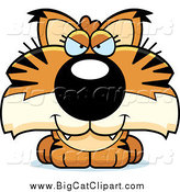 Big Cat Cartoon Vector Clipart of a Sly Bobcat Cub by Cory Thoman