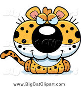Big Cat Cartoon Vector Clipart of a Sly Leopard Cub by Cory Thoman