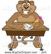 Big Cat Cartoon Vector Clipart of a Smart Cougar Mascot Character Taking a Quiz by Toons4Biz