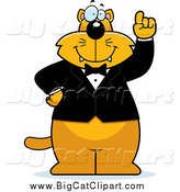 Big Cat Cartoon Vector Clipart of a Smart Ginger Cat Wearing a Tuxedo by Cory Thoman