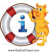 Big Cat Cartoon Vector Clipart of a Smart Tiger with an I Information Life Buoy by Graphics RF