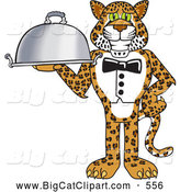 Big Cat Cartoon Vector Clipart of a Smiling Cheetah, Jaguar or Leopard Character School Mascot Serving a Platter by Toons4Biz