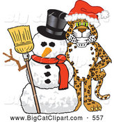 Big Cat Cartoon Vector Clipart of a Smiling Cheetah, Jaguar or Leopard Character School Mascot with a Snowman by Toons4Biz