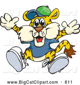 Big Cat Cartoon Vector Clipart of a Smiling Happy Tiger in Clothes, Jumping by Dennis Holmes Designs