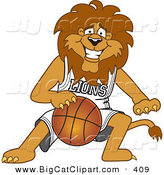 Big Cat Cartoon Vector Clipart of a Smiling Lion Character Mascot Dribbling a Basketball by Toons4Biz