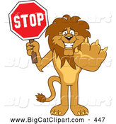 Big Cat Cartoon Vector Clipart of a Smiling Lion Character Mascot Holding a Stop Sign by Toons4Biz