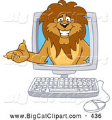Big Cat Cartoon Vector Clipart of a Smiling Lion Character Mascot in a Computer by Toons4Biz