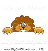 Big Cat Cartoon Vector Clipart of a Smiling Lion Character Mascot Looking over a Surface by Toons4Biz