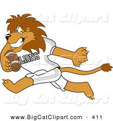 Big Cat Cartoon Vector Clipart of a Smiling Lion Character Mascot Playing Football by Toons4Biz