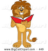Big Cat Cartoon Vector Clipart of a Smiling Lion Character Mascot Reading by Toons4Biz