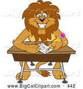 Big Cat Cartoon Vector Clipart of a Smiling Lion Character Mascot Taking a Quiz by Toons4Biz