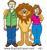 Big Cat Cartoon Vector Clipart of a Smiling Lion Character Mascot with Adults by Toons4Biz
