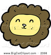 Big Cat Cartoon Vector Clipart of a Smiling Male Lion by Lineartestpilot