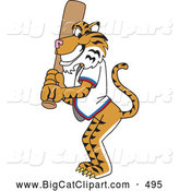 Big Cat Cartoon Vector Clipart of a Smiling Tiger Character School Mascot Batting by Toons4Biz