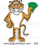 Big Cat Cartoon Vector Clipart of a Smiling Tiger Character School Mascot Holding Cash by Toons4Biz