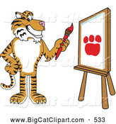 Big Cat Cartoon Vector Clipart of a Smiling Tiger Character School Mascot Painting a Canvas by Toons4Biz