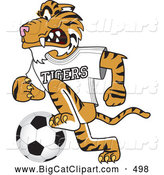 Big Cat Cartoon Vector Clipart of a Smiling Tiger Character School Mascot Playing Soccer by Toons4Biz