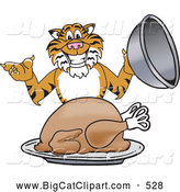 Big Cat Cartoon Vector Clipart of a Smiling Tiger Character School Mascot Serving a Thanksgiving Turkey by Toons4Biz