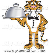 Big Cat Cartoon Vector Clipart of a Smiling Tiger Character School Mascot Serving Food by Toons4Biz
