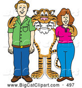Big Cat Cartoon Vector Clipart of a Smiling Tiger Character School Mascot with Teachers or Parents by Toons4Biz