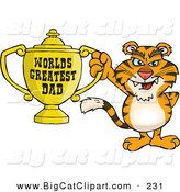 Big Cat Cartoon Vector Clipart of a Smiling Tiger Wildcat Character Holding a Golden Worlds Greatest Dad Trophy by Dennis Holmes Designs
