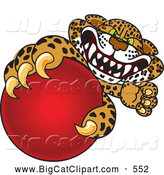 Big Cat Cartoon Vector Clipart of a Spotted Cheetah, Jaguar or Leopard Character School Mascot Grabbing a Red Ball by Toons4Biz