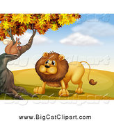 Big Cat Cartoon Vector Clipart of a Squirrel and Male Lion Talking at an Autumn Tree by Graphics RF