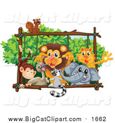 Big Cat Cartoon Vector Clipart of a Squirrel Monkey Emu Lemur Lion Elephant and Tiger Playing on a Forest Frame by Graphics RF