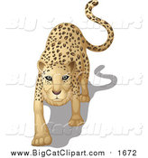 Big Cat Cartoon Vector Clipart of a Stalking Leopard by Graphics RF