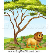 Big Cat Cartoon Vector Clipart of a Standing Lion by a Tree by Graphics RF