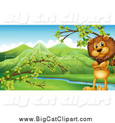 Big Cat Cartoon Vector Clipart of a Standing Lion with Folded Arms in a Valley by Graphics RF