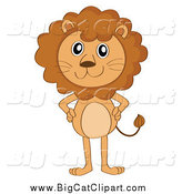 Big Cat Cartoon Vector Clipart of a Standing Lion with Hands on Hips by Graphics RF