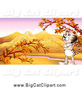 Big Cat Cartoon Vector Clipart of a Standing White Tiger in an Autumn Valley by Graphics RF