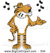 Big Cat Cartoon Vector Clipart of a Striped Tiger Character School Mascot Singing by Toons4Biz