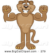 Big Cat Cartoon Vector Clipart of a Strong Cougar Mascot Character Flexing by Toons4Biz