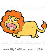 Big Cat Cartoon Vector Clipart of a Surprised Male Lion by Lineartestpilot
