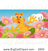 Big Cat Cartoon Vector Clipart of a Surprised Tiger in a Flower Garden by Graphics RF