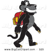 Big Cat Cartoon Vector Clipart of a Sweet Black Jaguar Mascot Character Walking to School by Toons4Biz