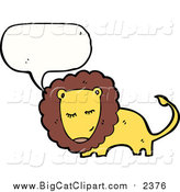 Big Cat Cartoon Vector Clipart of a Talking Bashful Male Lion by Lineartestpilot