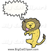 Big Cat Cartoon Vector Clipart of a Talking Goofy Lion by Lineartestpilot